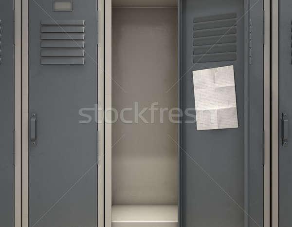 öltözőszekrény jegyzet csetepaté fém iskola egy Stock fotó © albund