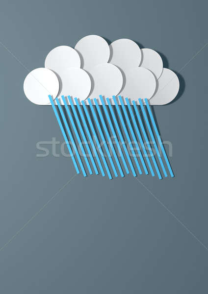 Abstract Cutout Cartoon Raincloud Stock photo © albund