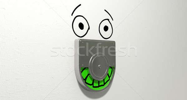 Kifejezéstelen zöld megkönnyebbülés toalett ajtó mechanizmus Stock fotó © albund