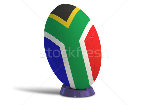 South African Rugby Ball On A Kicking Tee Stock photo © albund