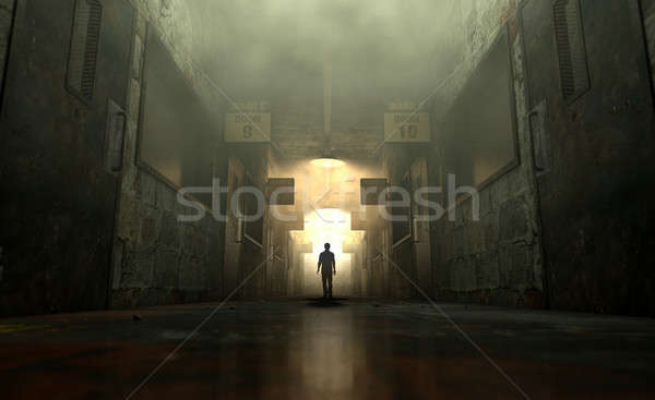 Mental Asylum With Ghostly Figure Stock photo © albund