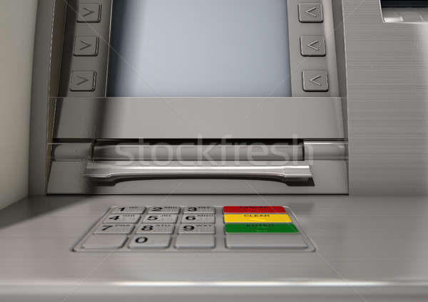 Atm fachada primer plano vista dinero Foto stock © albund