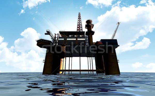 Piattaforma petrolifera regolare view fuori mare blu Foto d'archivio © albund