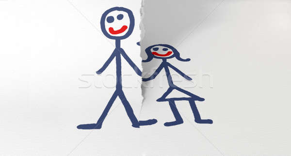Paper Tearing Couple Apart Stock photo © albund