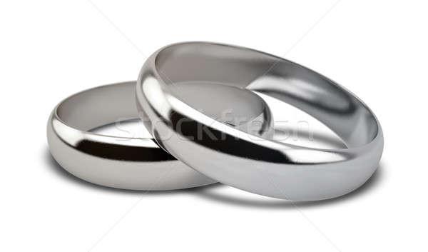 Wedding Ring White Gold Pair Stock photo © albund