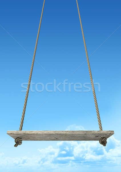 Touw swing blauwe hemel regelmatig houten Stockfoto © albund