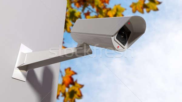 Megfigyelés kamera nappal fehér drótnélküli megvilágított Stock fotó © albund