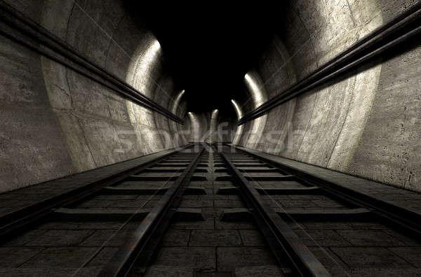 Trein tunnel baksteen ondergrondse twee Stockfoto © albund