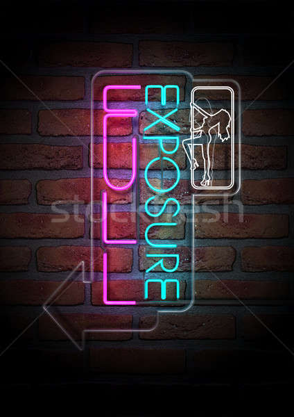 Neon Stripper Sign on A Face Brick Wall Stock photo © albund
