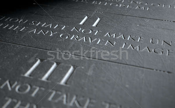 Drugi 3d dziesięć kamień tabletka Zdjęcia stock © albund