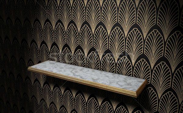 Vacío art deco plataforma pared mármol oro Foto stock © albund