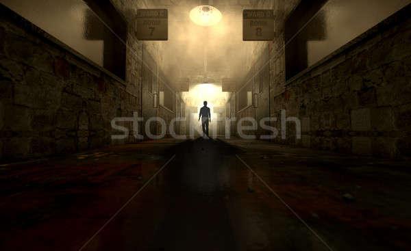 Szellemi alkat hosszú árnyék lefelé középső Stock fotó © albund