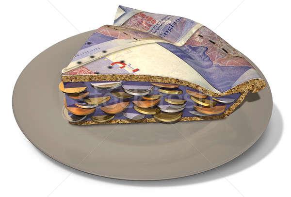 Szelet font pénz pite szeletel részleg Stock fotó © albund
