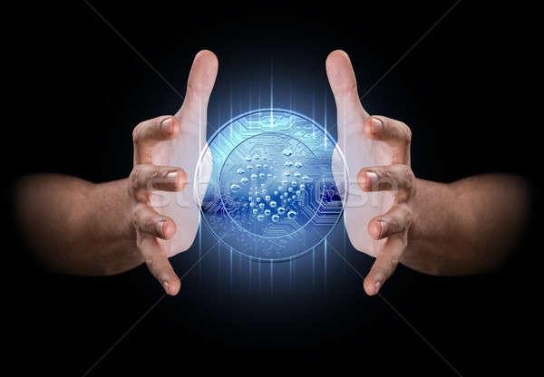 Zdjęcia stock: Strony · pary · mężczyzna · ręce · hologram · monety