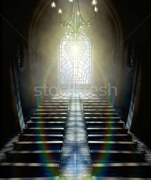 Vitrais janela igreja escuro interior Foto stock © albund