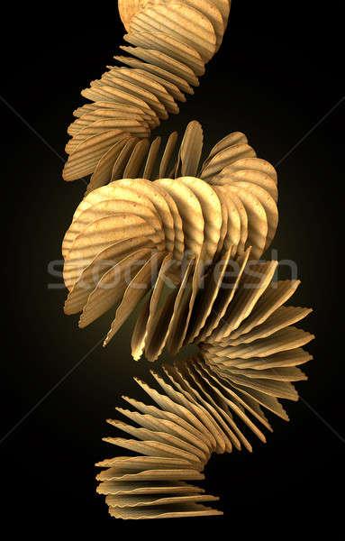 Potato Chip Stack Falling Stock photo © albund