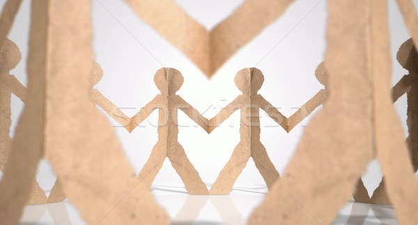 Stock photo: Circle Of Cutout Paper Cardboard Men