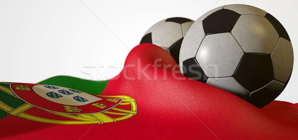 Portugal Flag And Soccer Ball Stock photo © albund