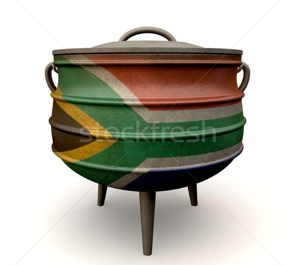 Dél-afrikai edény festett zászló hagyományos öntöttvas Stock fotó © albund
