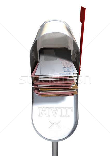 Retro Mail Box And White Envelope Stack Stock photo © albund