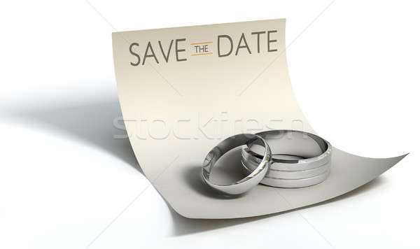 Mettre date anneaux note mariage engagement Photo stock © albund