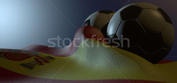 Spain Flag And Soccer Ball Stock photo © albund