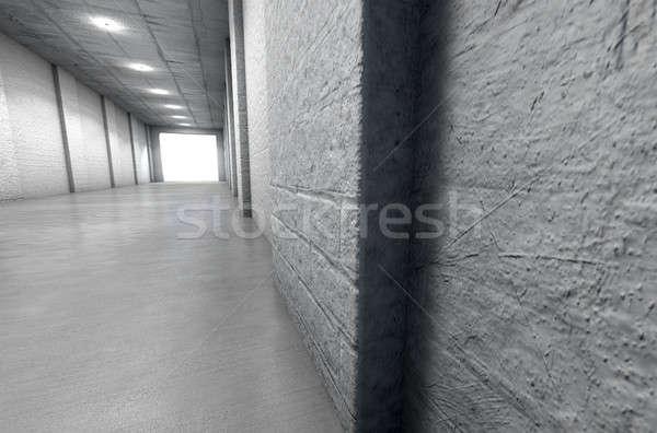 Sportok stadion alagút távoli néz lefelé Stock fotó © albund