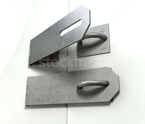Metal Hasps Open And Closed Stock photo © albund