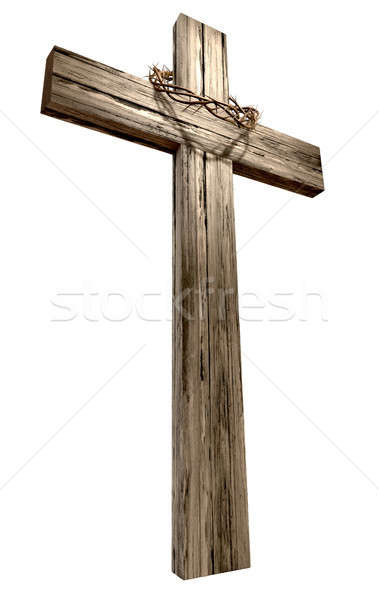 Wooden Crucifix With Crown Of Thorns Stock photo © albund