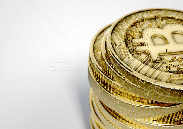 Bitcoin rendu 3d or monnaie Photo stock © albund
