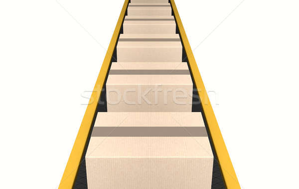 Belt Conveyor With Boxes Stock photo © albund