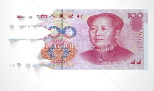 Chinese Yuan Melting Dripping Banknote Stock photo © albund