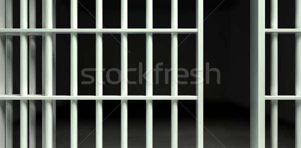 White Bar Jail Cell Front Unlocked Stock photo © albund