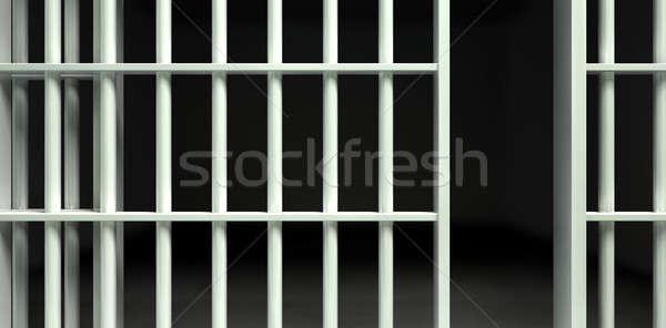 Biały bar jail cell front widoku żelaza Zdjęcia stock © albund