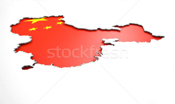 Recessed Country Map China Stock photo © albund