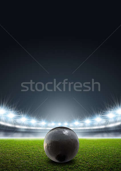 Shotput Ball In Generic Floodlit Stadium Stock photo © albund