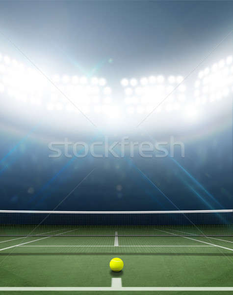 Estádio quadra de tênis arena verde superfície noite Foto stock © albund