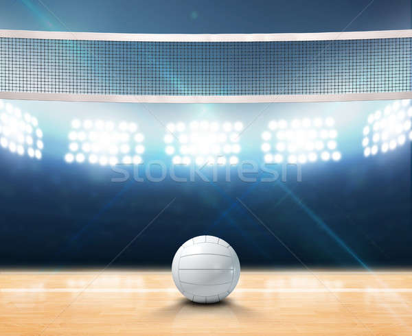 Indoor Floodlit Volleyball Court Stock photo © albund