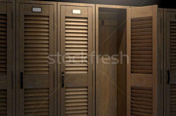 Vintage kastje Open deur rij houten gymnasium Stockfoto © albund