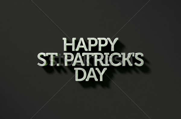 happy st patricks day Text On Black Stock photo © albund