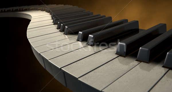 Humeurig pianotoetsen vol ingesteld regelmatig uit Stockfoto © albund