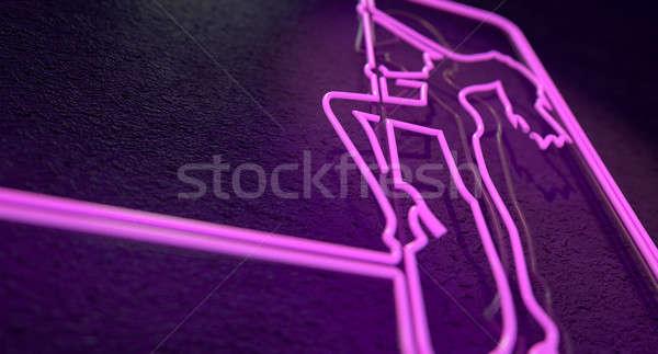 Sztriptíztáncos felirat megvilágított neon rózsaszín klub Stock fotó © albund