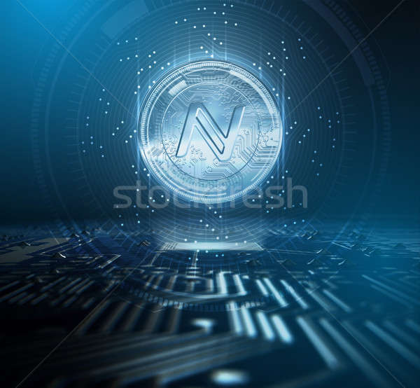 Cryptocurrency Namecoin And Circuit Board Stock photo © albund