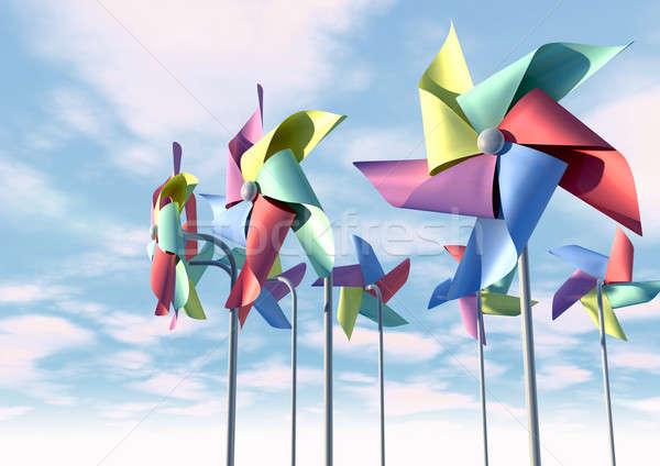 Colorful Pinwheels On Blue Sky Front Stock photo © albund