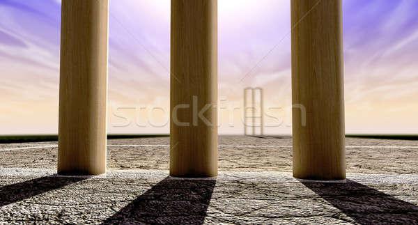 クリケット ピッチ 地平線 両方 ストレート ひびの入った ストックフォト © albund