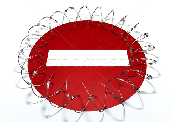 Barbed Wire No Entry Concept Stock photo © albund