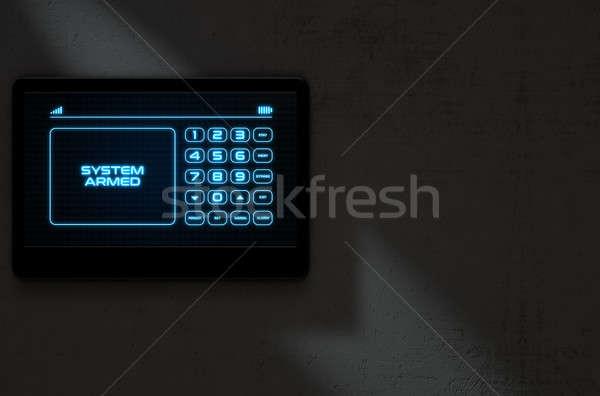 Modern interaktív otthon biztonság 3d render érintőképernyő Stock fotó © albund