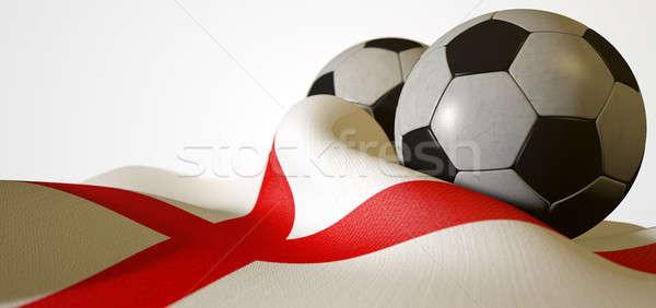 İngiltere bayrak futbol topu düzenli panel Stok fotoğraf © albund