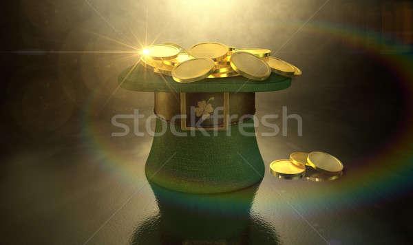 Green Leprechaun Hat Filled With Gold Coins Stock photo © albund