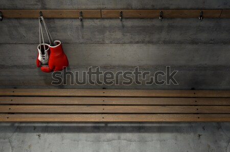Boxing Gloves Hanging In Change Room Stock photo © albund
